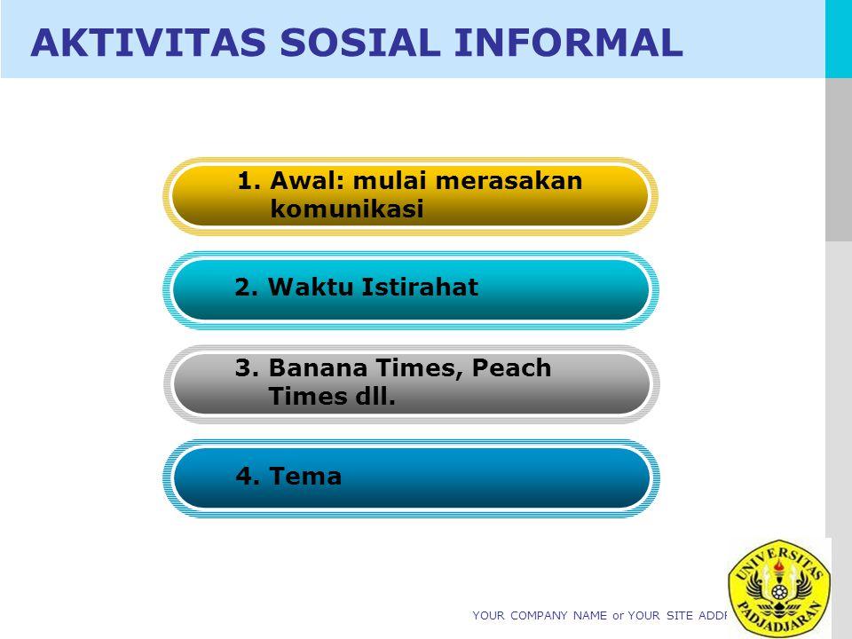 LOGO YOUR COMPANY NAME or YOUR SITE ADDRESS AKTIVITAS SOSIAL INFORMAL 1. Awal: mulai merasakan komunikasi 2. Waktu Istirahat 3. Banana Times, Peach Ti