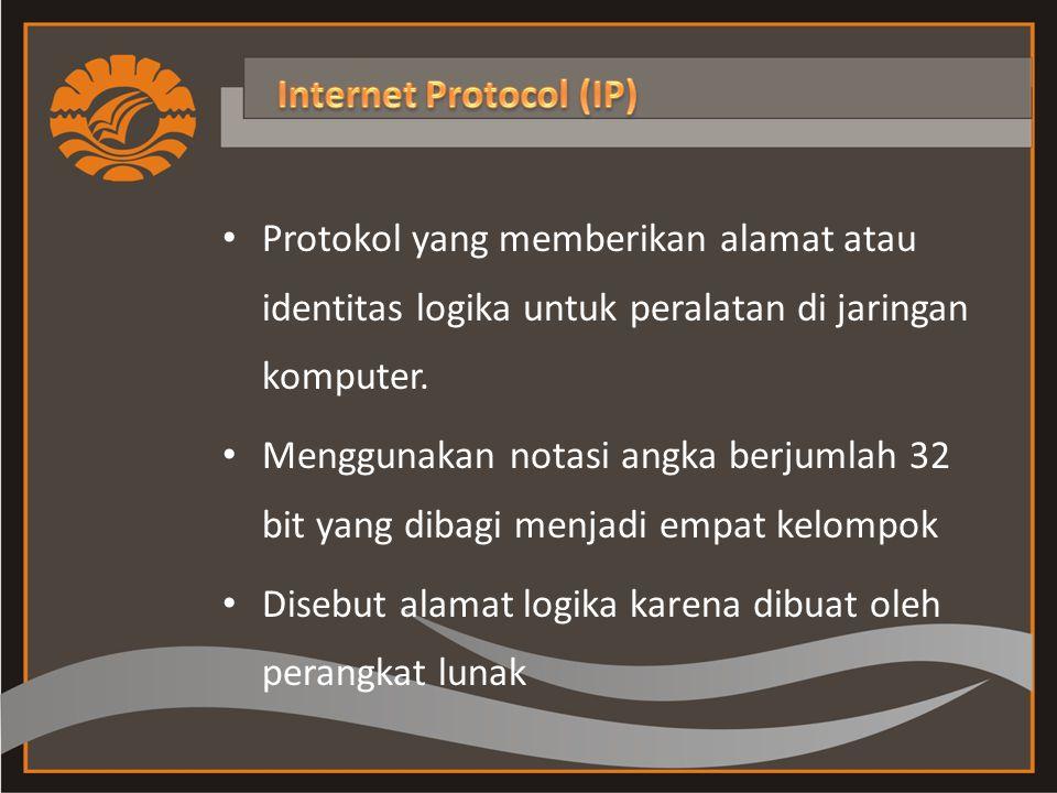 Protokol yang memberikan alamat atau identitas logika untuk peralatan di jaringan komputer.