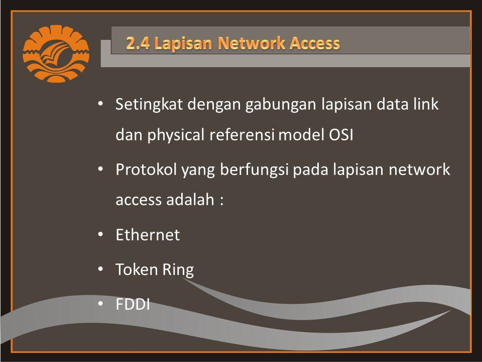 Setingkat dengan gabungan lapisan data link dan physical referensi model OSI Protokol yang berfungsi pada lapisan network access adalah : Ethernet Token Ring FDDI
