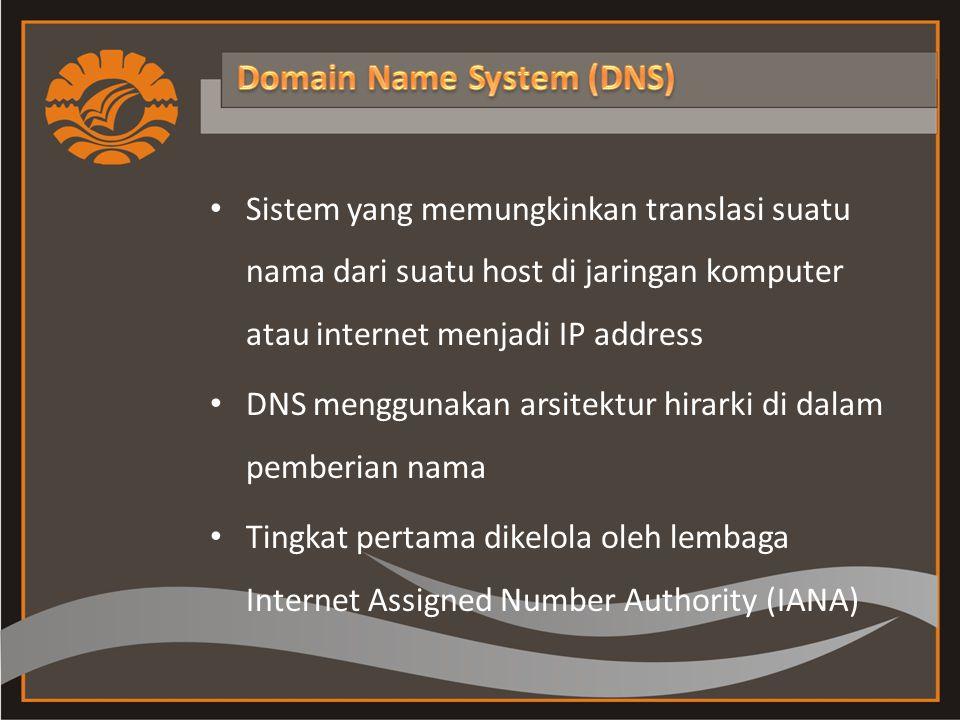 Sistem yang memungkinkan translasi suatu nama dari suatu host di jaringan komputer atau internet menjadi IP address DNS menggunakan arsitektur hirarki di dalam pemberian nama Tingkat pertama dikelola oleh lembaga Internet Assigned Number Authority (IANA)