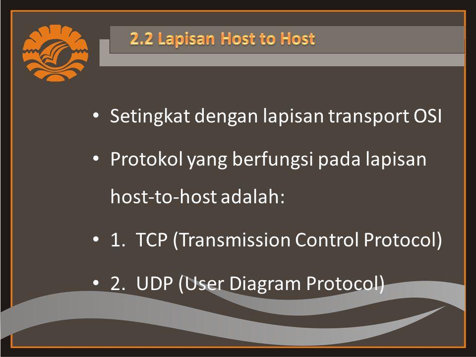 Setingkat dengan lapisan transport OSI Protokol yang berfungsi pada lapisan host-to-host adalah: 1.