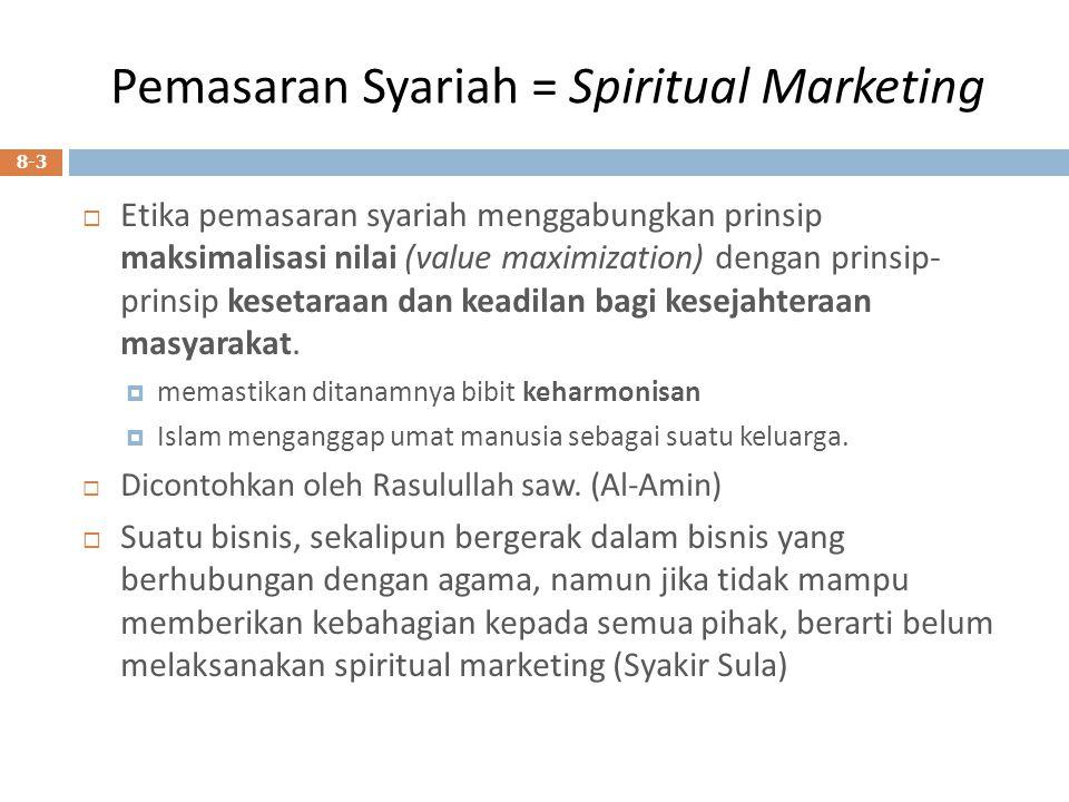 Pemasaran Syariah = Spiritual Marketing  Etika pemasaran syariah menggabungkan prinsip maksimalisasi nilai (value maximization) dengan prinsip- prins