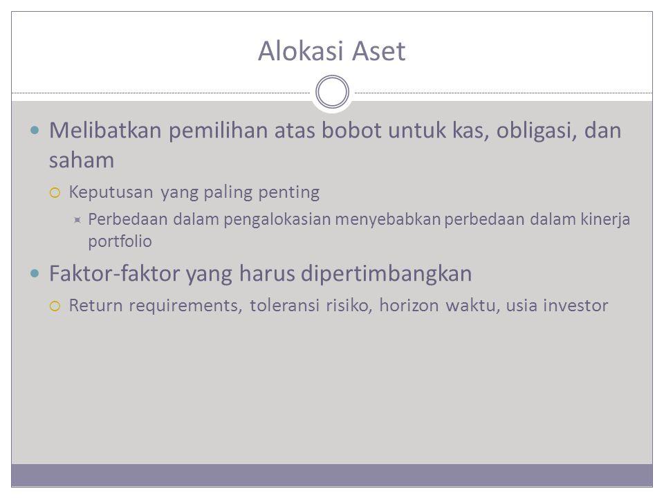 Alokasi Aset Melibatkan pemilihan atas bobot untuk kas, obligasi, dan saham  Keputusan yang paling penting  Perbedaan dalam pengalokasian menyebabkan perbedaan dalam kinerja portfolio Faktor-faktor yang harus dipertimbangkan  Return requirements, toleransi risiko, horizon waktu, usia investor