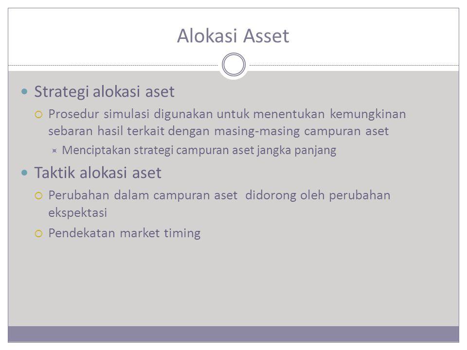 Alokasi Asset Strategi alokasi aset  Prosedur simulasi digunakan untuk menentukan kemungkinan sebaran hasil terkait dengan masing-masing campuran aset  Menciptakan strategi campuran aset jangka panjang Taktik alokasi aset  Perubahan dalam campuran aset didorong oleh perubahan ekspektasi  Pendekatan market timing