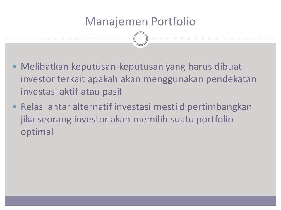 Keadaan dan Kondisi Monitoring Keadaan investor dapat berubah karena beberapa alasan  Perubahan kesejahteraan yang mempengaruhi toleransi terhadap risiko  Perubahan horizon investasi  Perubahan kebutuhan likuiditas  Perubahan aturan perpajakan  Pertimbangan regulasi pemerintah  Keadaan dan kebutuhan unik