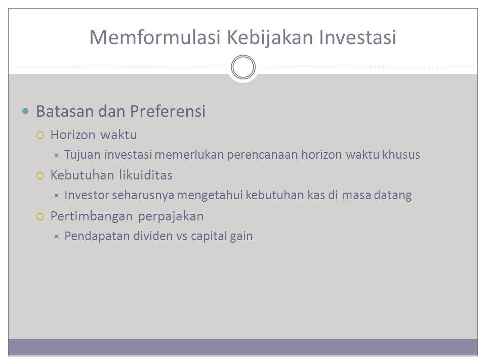 Memformulasi Kebijakan Investasi Batasan dan Preferensi  Horizon waktu  Tujuan investasi memerlukan perencanaan horizon waktu khusus  Kebutuhan likuiditas  Investor seharusnya mengetahui kebutuhan kas di masa datang  Pertimbangan perpajakan  Pendapatan dividen vs capital gain