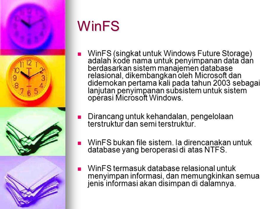 WinFS WinFS (singkat untuk Windows Future Storage) adalah kode nama untuk penyimpanan data dan berdasarkan sistem manajemen database relasional, dikembangkan oleh Microsoft dan didemokan pertama kali pada tahun 2003 sebagai lanjutan penyimpanan subsistem untuk sistem operasi Microsoft Windows.
