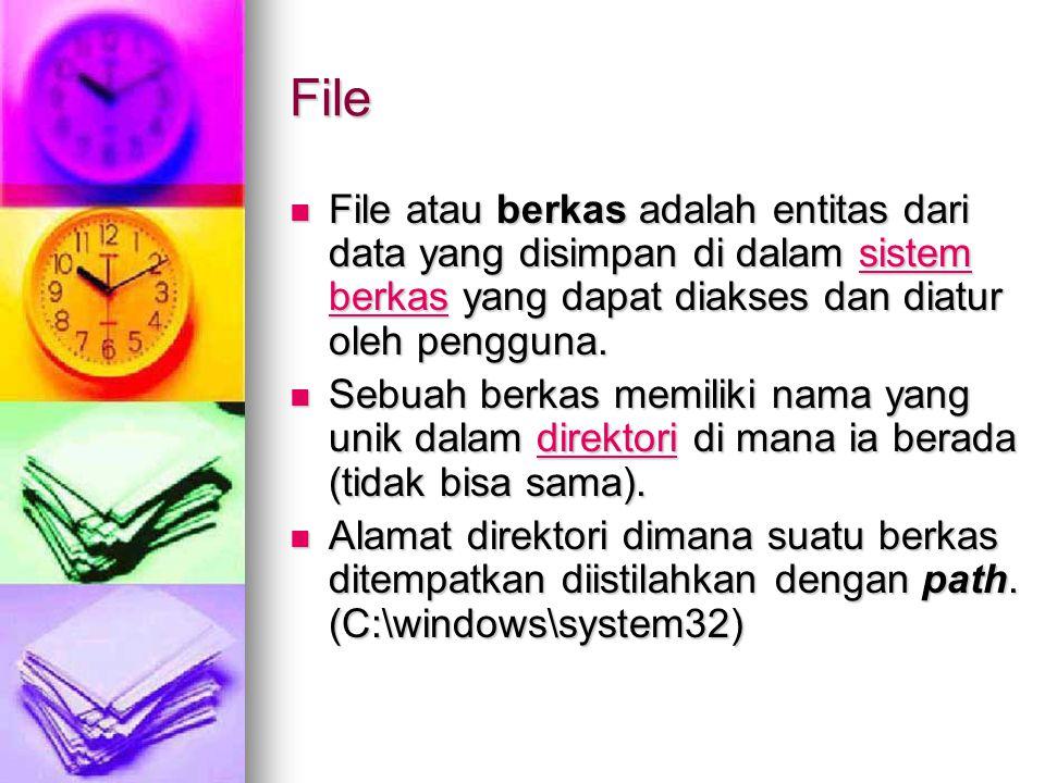 File File atau berkas adalah entitas dari data yang disimpan di dalam sistem berkas yang dapat diakses dan diatur oleh pengguna.