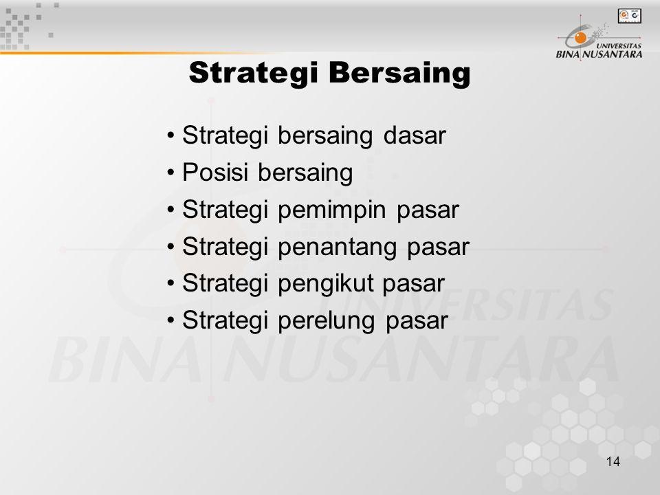 14 Strategi Bersaing Strategi bersaing dasar Posisi bersaing Strategi pemimpin pasar Strategi penantang pasar Strategi pengikut pasar Strategi perelung pasar