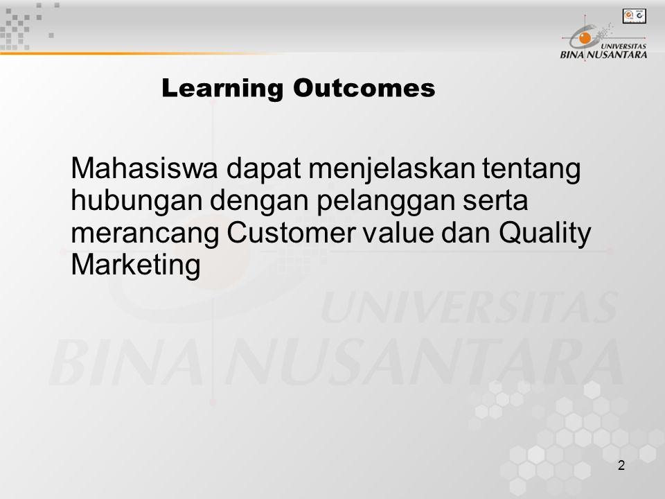 2 Learning Outcomes Mahasiswa dapat menjelaskan tentang hubungan dengan pelanggan serta merancang Customer value dan Quality Marketing