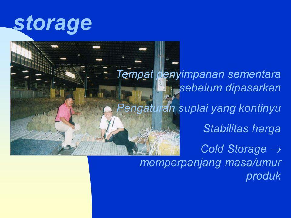 storage Tempat penyimpanan sementara sebelum dipasarkan Pengaturan suplai yang kontinyu Stabilitas harga Cold Storage  memperpanjang masa/umur produk