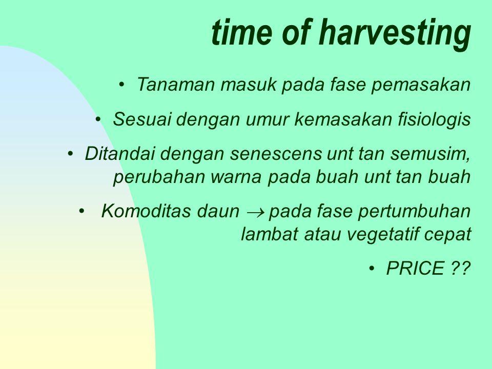 time of harvesting Tanaman masuk pada fase pemasakan Sesuai dengan umur kemasakan fisiologis Ditandai dengan senescens unt tan semusim, perubahan warna pada buah unt tan buah Komoditas daun  pada fase pertumbuhan lambat atau vegetatif cepat PRICE