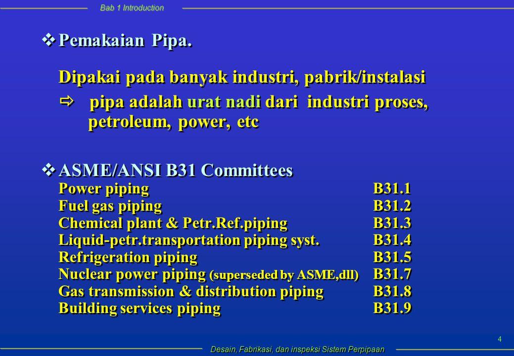 Bab 1 Introduction Desain, Fabrikasi, dan inspeksi Sistem Perpipaan 4  Pemakaian Pipa.