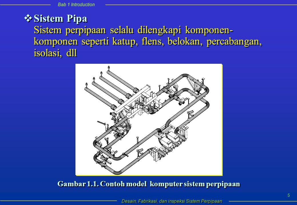 Bab 1 Introduction Desain, Fabrikasi, dan inspeksi Sistem Perpipaan 5  Sistem Pipa Sistem perpipaan selalu dilengkapi komponen- komponen seperti katup, flens, belokan, percabangan, isolasi, dll Gambar 1.1.