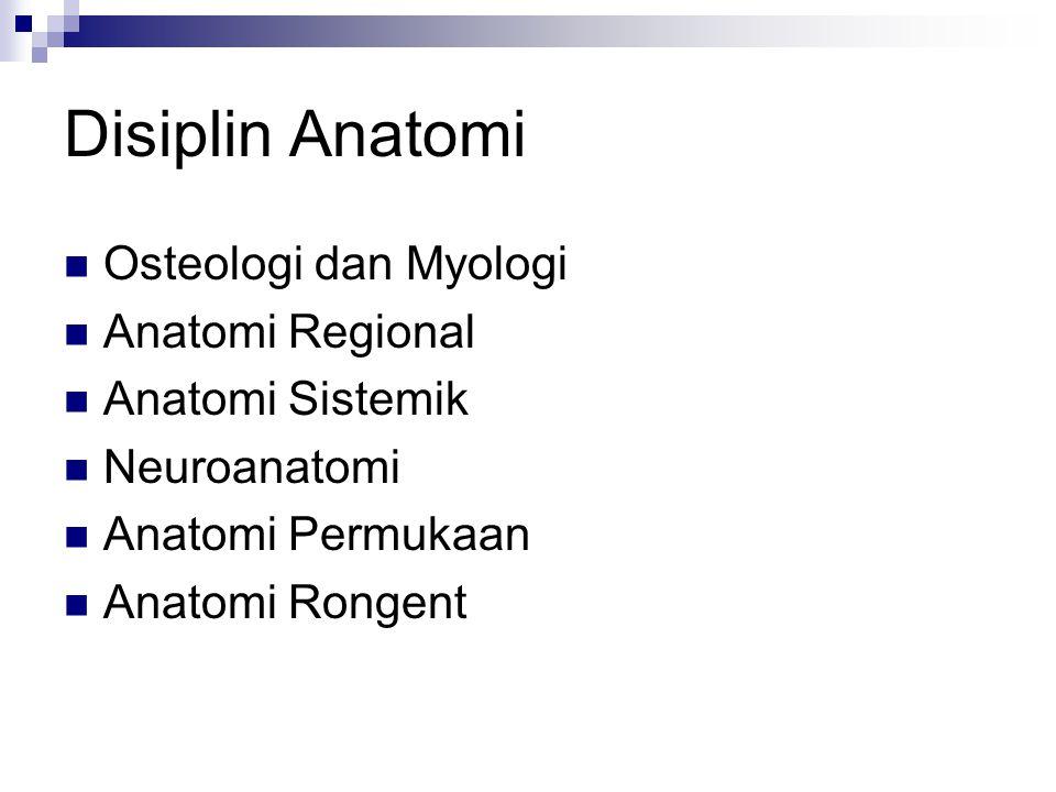 Disiplin Anatomi Osteologi dan Myologi Anatomi Regional Anatomi Sistemik Neuroanatomi Anatomi Permukaan Anatomi Rongent