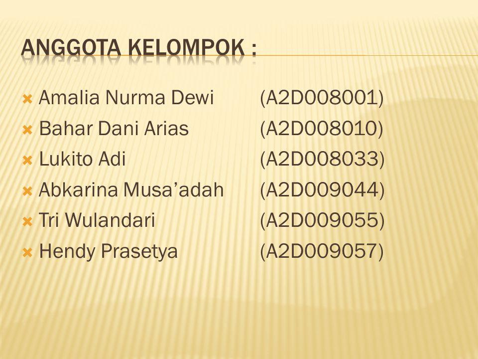  Amalia Nurma Dewi (A2D008001)  Bahar Dani Arias(A2D008010)  Lukito Adi(A2D008033)  Abkarina Musa'adah (A2D009044)  Tri Wulandari(A2D009055)  He