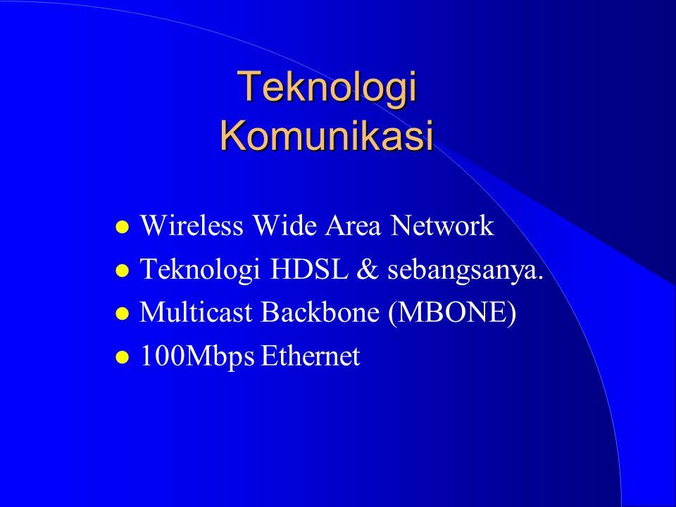 Teknologi Komunikasi l Wireless Wide Area Network l Teknologi HDSL & sebangsanya. l Multicast Backbone (MBONE) l 100Mbps Ethernet