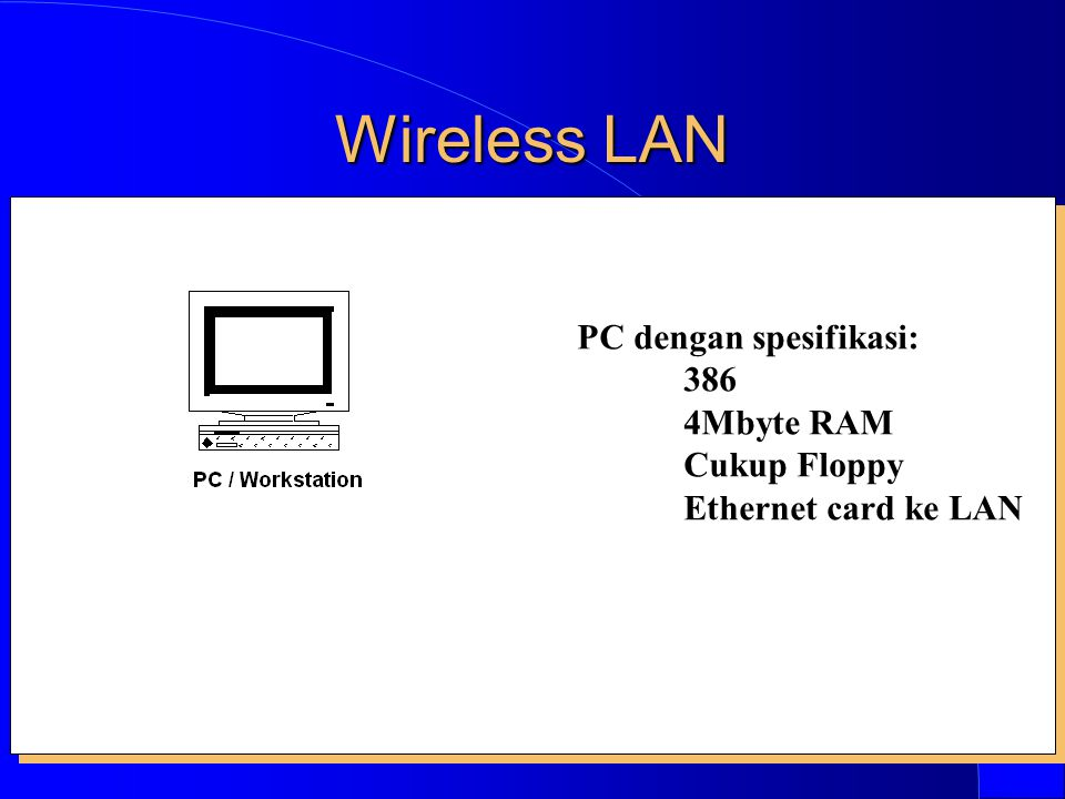 Wireless LAN PC dengan spesifikasi: 386 4Mbyte RAM Cukup Floppy Ethernet card ke LAN