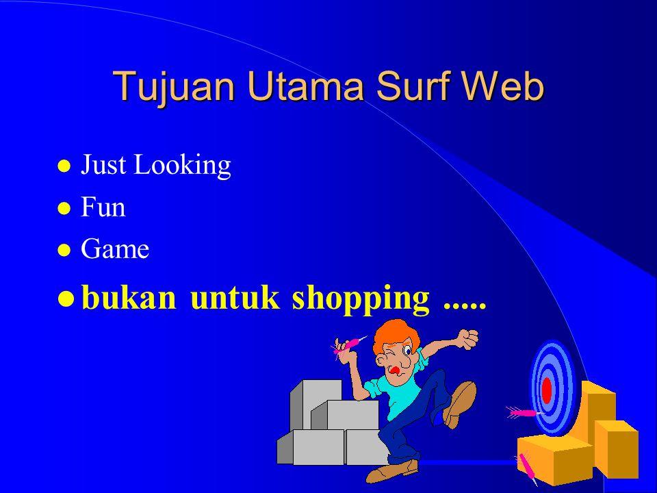 Tujuan Utama Surf Web l Just Looking l Fun l Game l bukan untuk shopping.....