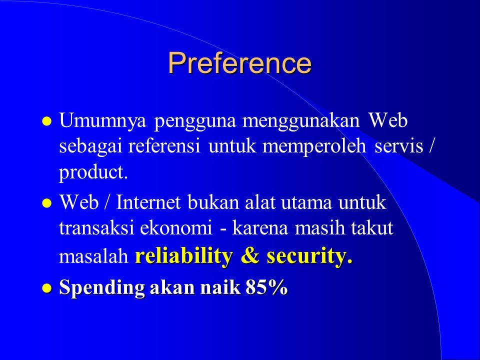 Preference l Umumnya pengguna menggunakan Web sebagai referensi untuk memperoleh servis / product. reliability & security. l Web / Internet bukan alat