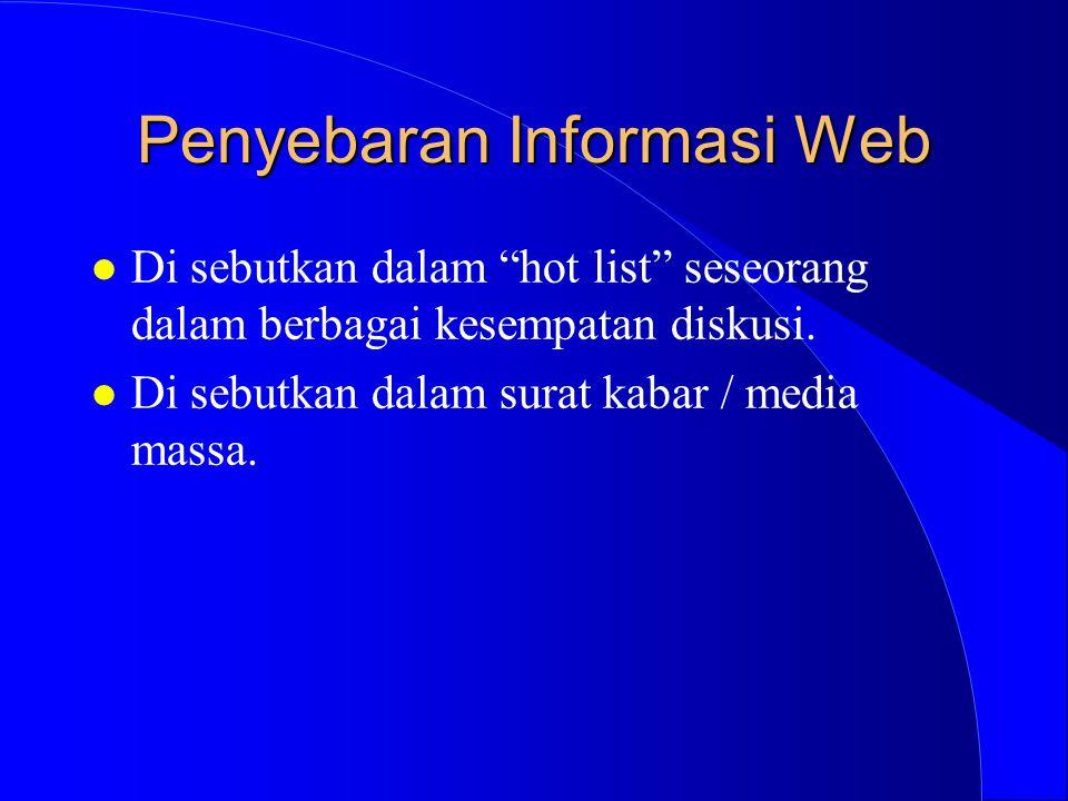Penyebaran Informasi Web l Di sebutkan dalam hot list seseorang dalam berbagai kesempatan diskusi.