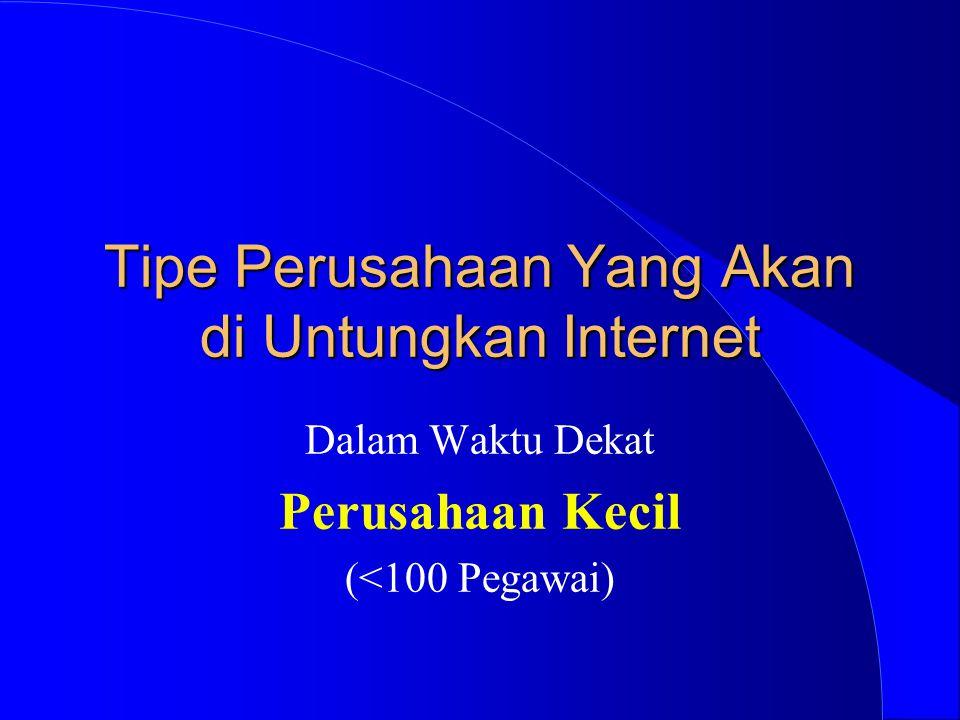 Tipe Perusahaan Yang Akan di Untungkan Internet Dalam Waktu Dekat Perusahaan Kecil (<100 Pegawai)