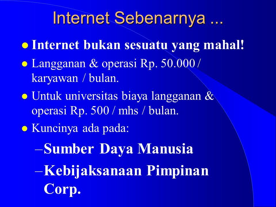 Internet Sebenarnya... l Internet bukan sesuatu yang mahal! l Langganan & operasi Rp. 50.000 / karyawan / bulan. l Untuk universitas biaya langganan &