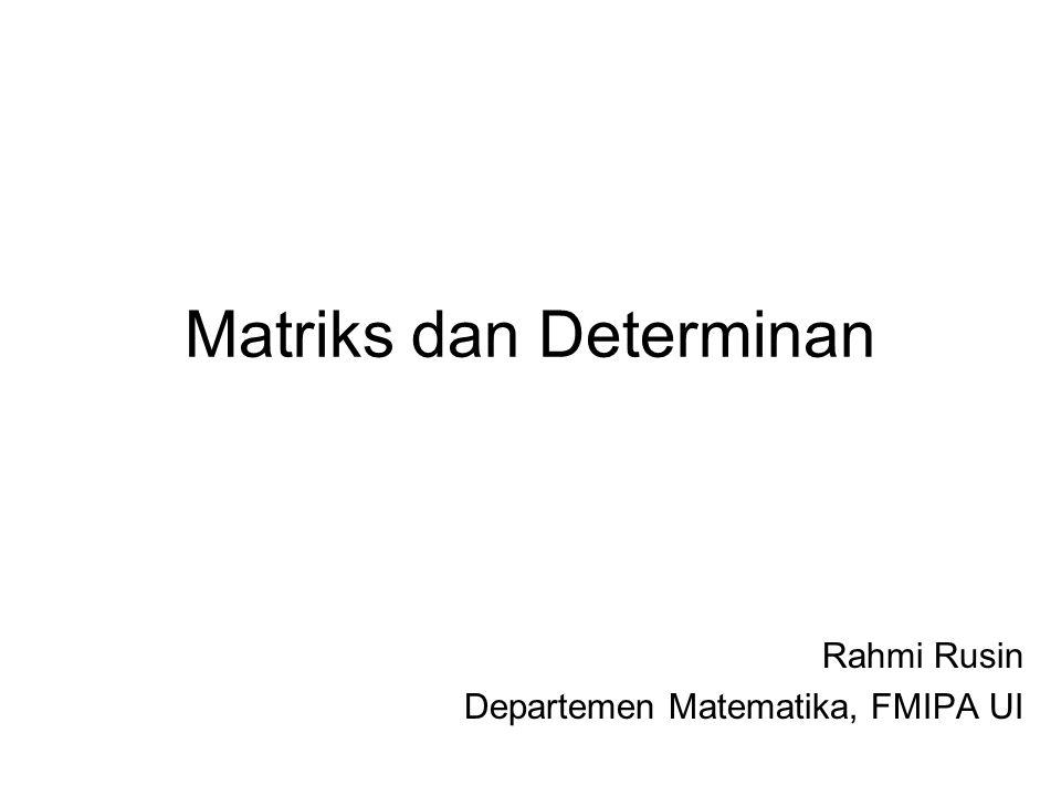 Matriks dan Determinan Rahmi Rusin Departemen Matematika, FMIPA UI