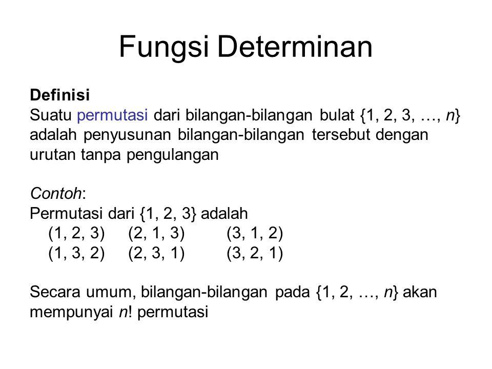 Fungsi Determinan Definisi Suatu permutasi dari bilangan-bilangan bulat {1, 2, 3, …, n} adalah penyusunan bilangan-bilangan tersebut dengan urutan tan