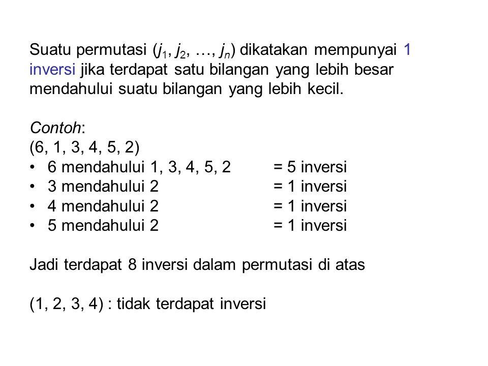 Suatu permutasi (j 1, j 2, …, j n ) dikatakan mempunyai 1 inversi jika terdapat satu bilangan yang lebih besar mendahului suatu bilangan yang lebih ke