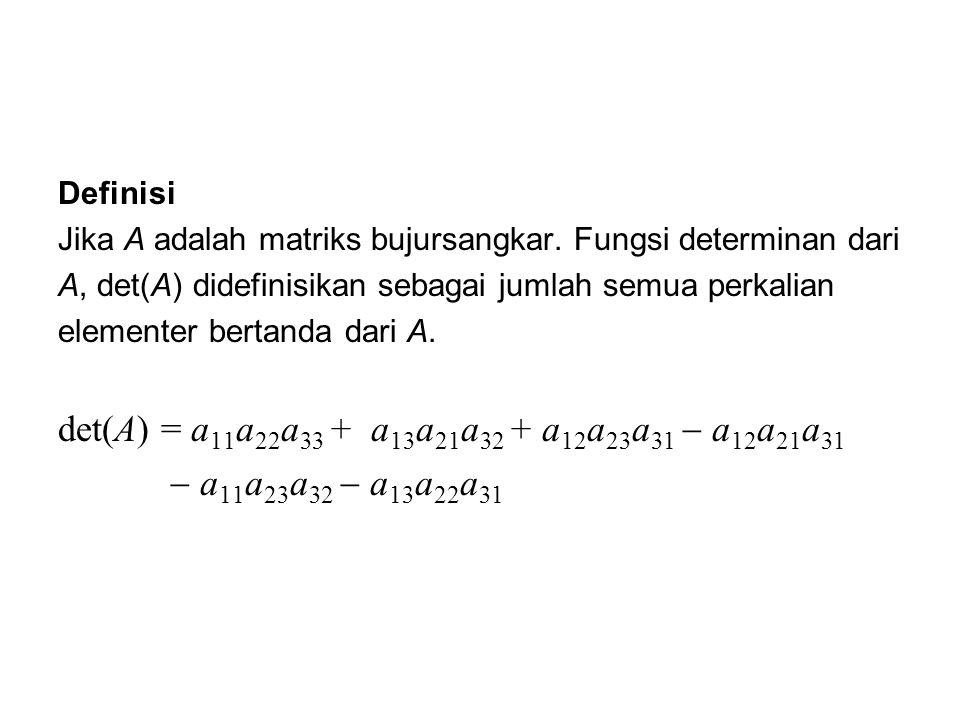 Definisi Jika A adalah matriks bujursangkar. Fungsi determinan dari A, det(A) didefinisikan sebagai jumlah semua perkalian elementer bertanda dari A.