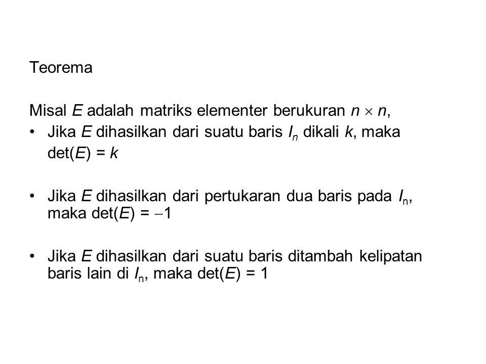 Teorema Misal E adalah matriks elementer berukuran n  n, Jika E dihasilkan dari suatu baris I n dikali k, maka det(E) = k Jika E dihasilkan dari pert