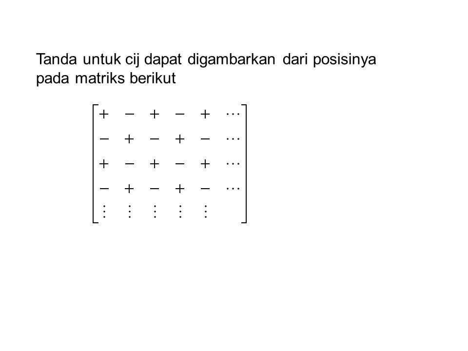 Tanda untuk cij dapat digambarkan dari posisinya pada matriks berikut