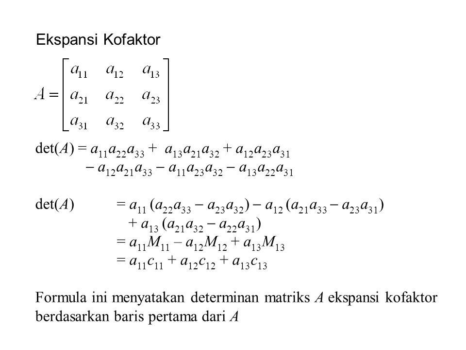 Ekspansi Kofaktor det(A) = a 11 a 22 a 33 + a 13 a 21 a 32 + a 12 a 23 a 31  a 12 a 21 a 33  a 11 a 23 a 32  a 13 a 22 a 31 det(A)= a 11 (a 22 a 33