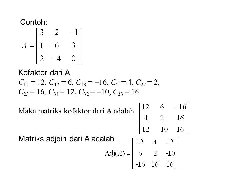 Contoh: Kofaktor dari A C 11 = 12, C 12 = 6, C 13 =  16, C 21 = 4, C 22 = 2, C 23 = 16, C 31 = 12, C 32 =  10, C 33 = 16 Maka matriks kofaktor dari