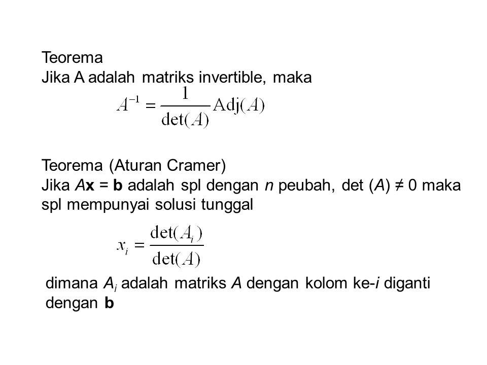 Teorema Jika A adalah matriks invertible, maka Teorema (Aturan Cramer) Jika Ax = b adalah spl dengan n peubah, det (A) ≠ 0 maka spl mempunyai solusi t