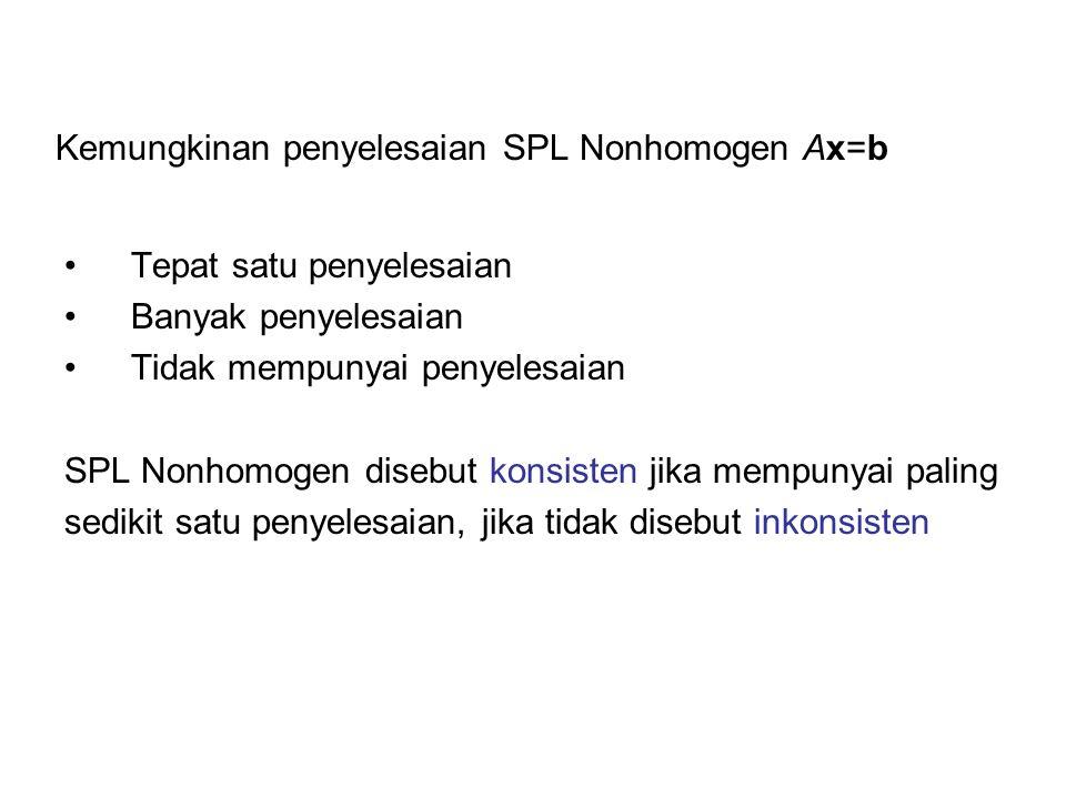 Kemungkinan penyelesaian SPL Nonhomogen Ax=b Tepat satu penyelesaian Banyak penyelesaian Tidak mempunyai penyelesaian SPL Nonhomogen disebut konsisten