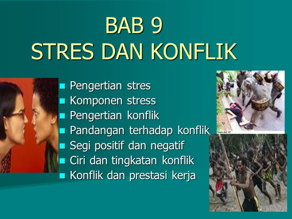 BAB 9 STRES DAN KONFLIK Pengertian stres Pengertian stres Komponen stress Komponen stress Pengertian konflik Pengertian konflik Pandangan terhadap kon