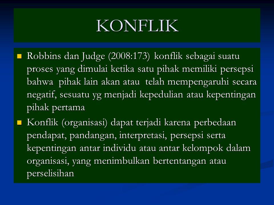 KONFLIK Robbins dan Judge (2008:173) konflik sebagai suatu proses yang dimulai ketika satu pihak memiliki persepsi bahwa pihak lain akan atau telah me