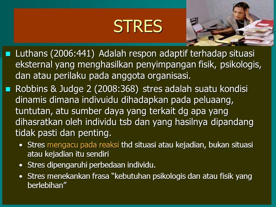 STRES Luthans (2006:441) Adalah respon adaptif terhadap situasi eksternal yang menghasilkan penyimpangan fisik, psikologis, dan atau perilaku pada ang