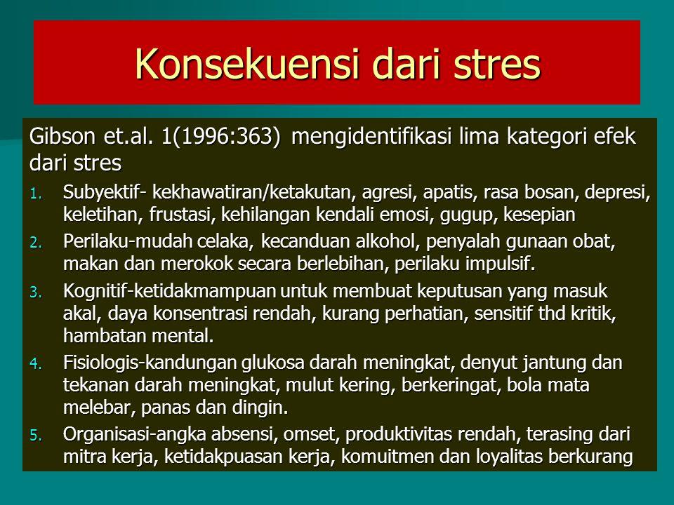 Konsekuensi dari stres Gibson et.al. 1(1996:363) mengidentifikasi lima kategori efek dari stres 1. Subyektif- kekhawatiran/ketakutan, agresi, apatis,