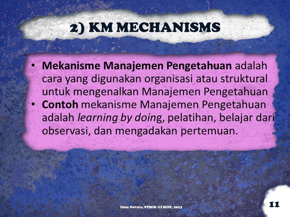 2) KM MECHANISMS Mekanisme Manajemen Pengetahuan adalah cara yang digunakan organisasi atau struktural untuk mengenalkan Manajemen Pengetahuan Contoh