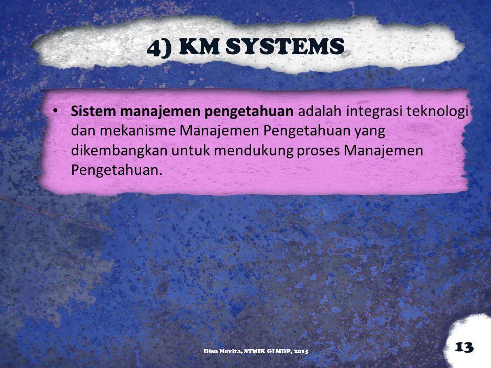 4) KM SYSTEMS Sistem manajemen pengetahuan adalah integrasi teknologi dan mekanisme Manajemen Pengetahuan yang dikembangkan untuk mendukung proses Man