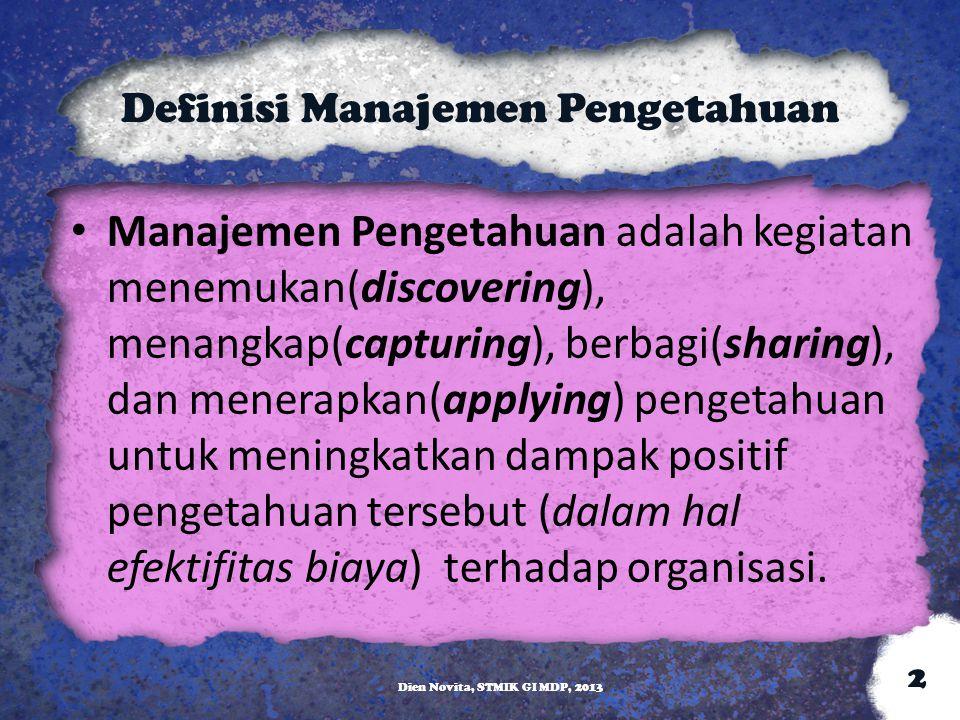 Definisi Manajemen Pengetahuan Manajemen Pengetahuan adalah kegiatan menemukan(discovering), menangkap(capturing), berbagi(sharing), dan menerapkan(ap