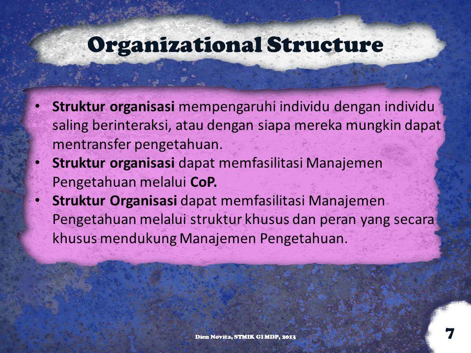 Organizational Structure Struktur organisasi mempengaruhi individu dengan individu saling berinteraksi, atau dengan siapa mereka mungkin dapat mentran