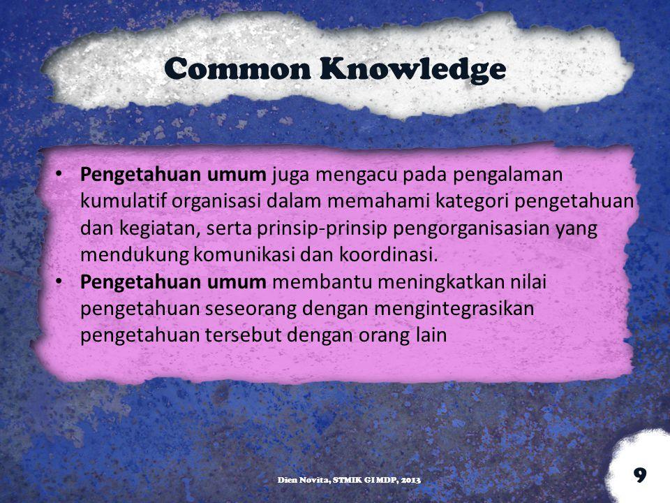 Common Knowledge Pengetahuan umum juga mengacu pada pengalaman kumulatif organisasi dalam memahami kategori pengetahuan dan kegiatan, serta prinsip-pr