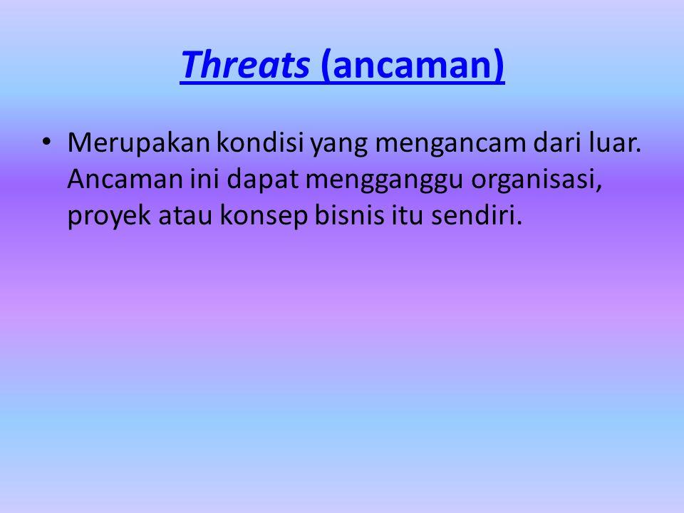 Threats (ancaman) Merupakan kondisi yang mengancam dari luar. Ancaman ini dapat mengganggu organisasi, proyek atau konsep bisnis itu sendiri.