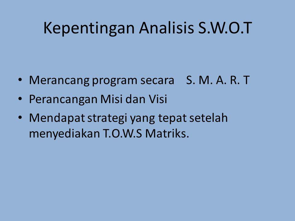 Kepentingan Analisis S.W.O.T Merancang program secara S. M. A. R. T Perancangan Misi dan Visi Mendapat strategi yang tepat setelah menyediakan T.O.W.S