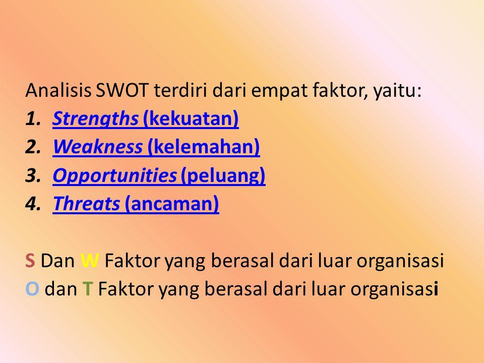 Analisis SWOT terdiri dari empat faktor, yaitu: 1.Strengths (kekuatan)Strengths (kekuatan) 2.Weakness (kelemahan)Weakness (kelemahan) 3.Opportunities