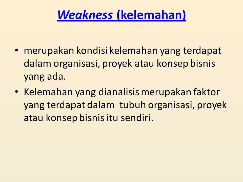 Weakness (kelemahan) merupakan kondisi kelemahan yang terdapat dalam organisasi, proyek atau konsep bisnis yang ada. Kelemahan yang dianalisis merupak